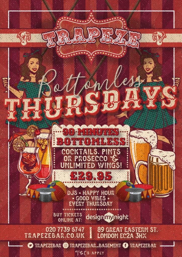 Bottomless Thursday at Trapeze Bar Shoreditch